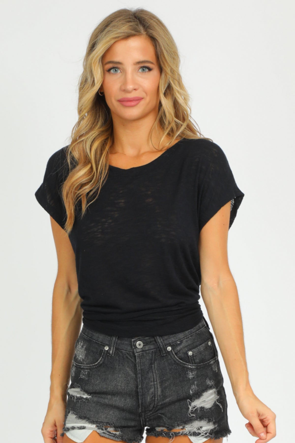 BLACK OPEN TIE BACK TEE