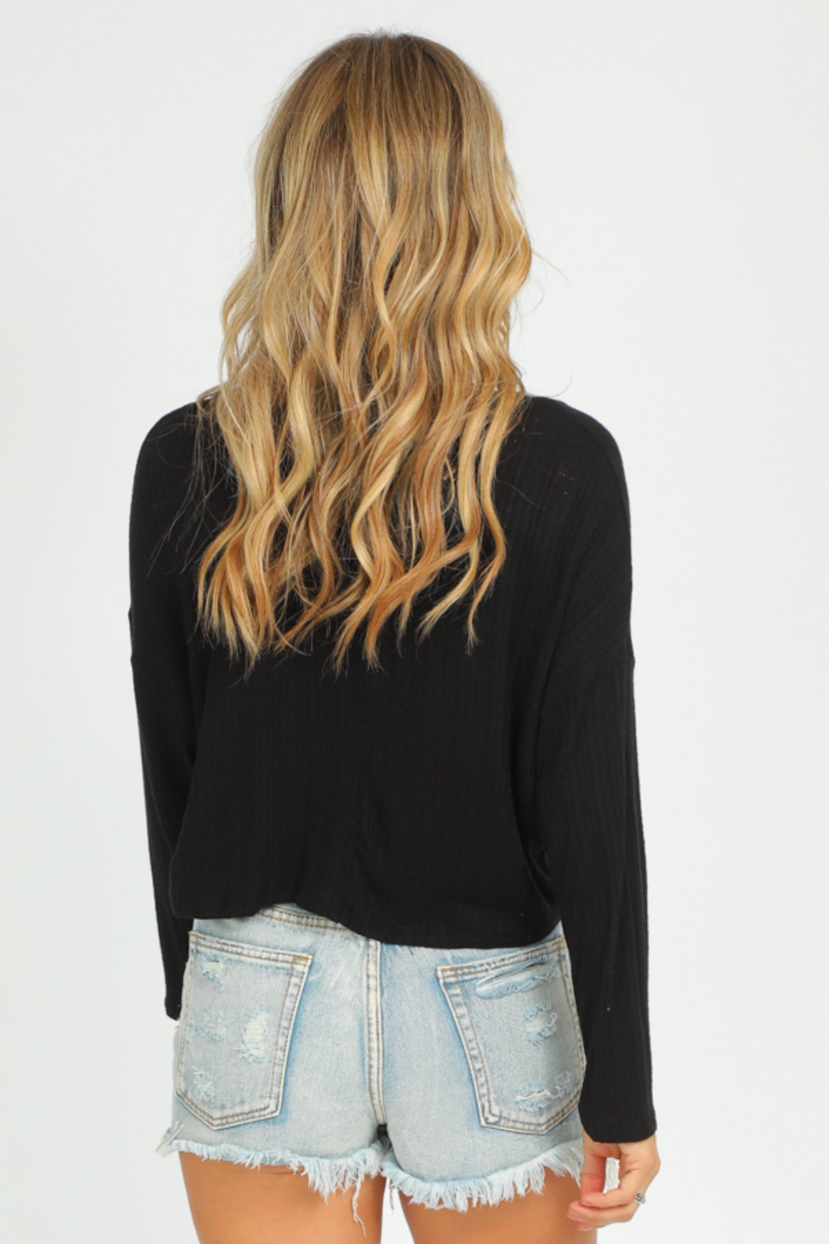BLACK VNECK LONG SLEEVE CROP