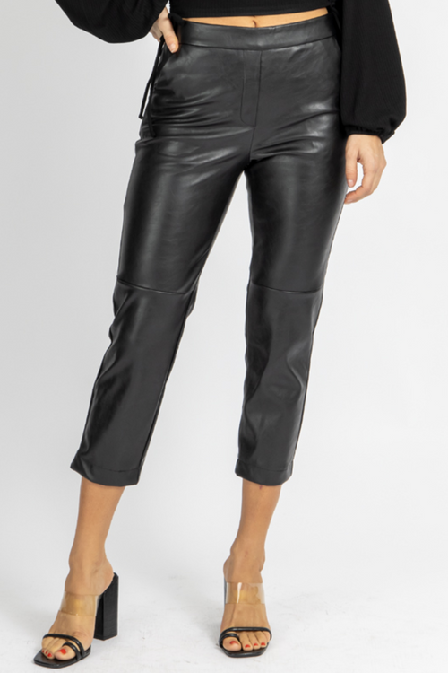 LEATHER ELASTIC-BACK CROPPED PANTS