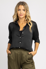 BLACK WOVEN SILKY BUTTON DOWN