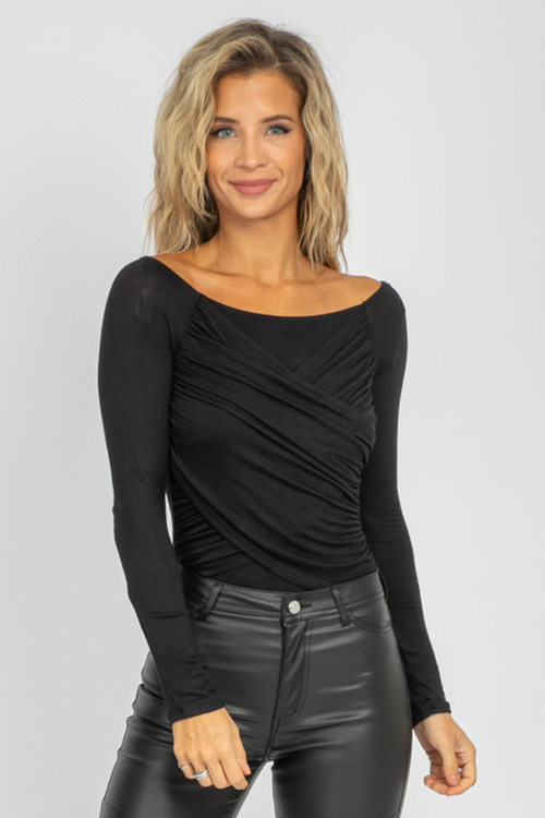 BLACK WRAP RUCHED BODYSUIT
