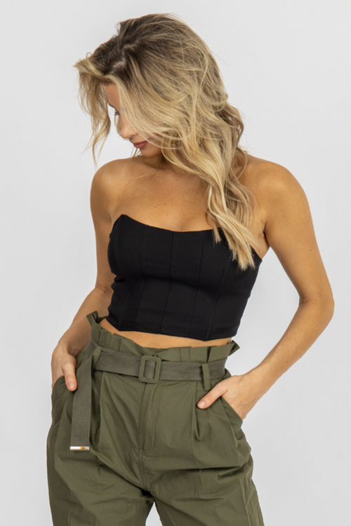 BLACK ZIP BACK STRAPLESS CROP