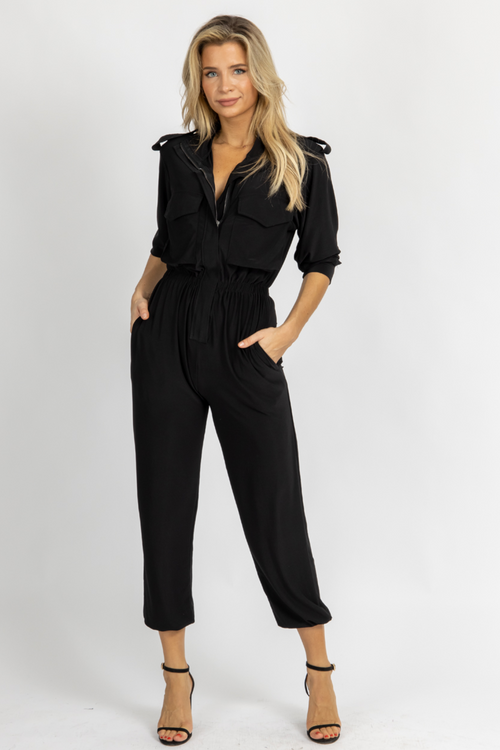 BLACK ZIPPERED FRONT JUMPSUIT