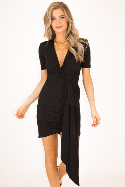 BLACK ASYMMETRICAL MINI DRESS