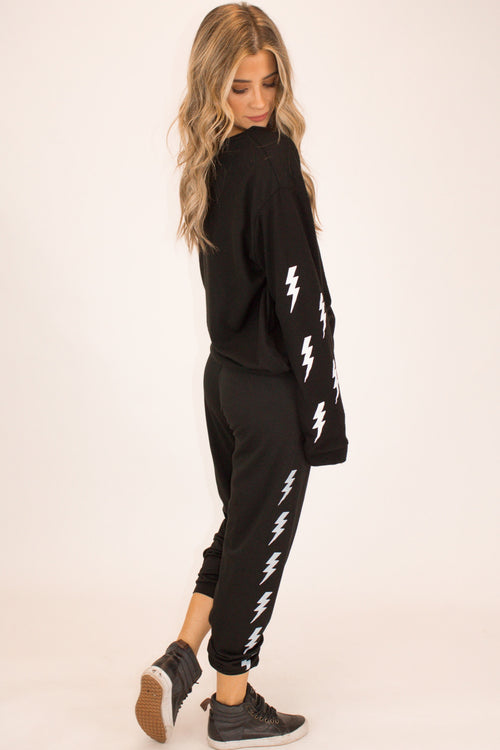 BOLT GRAPHIC SWEATPANTS IN BLACK