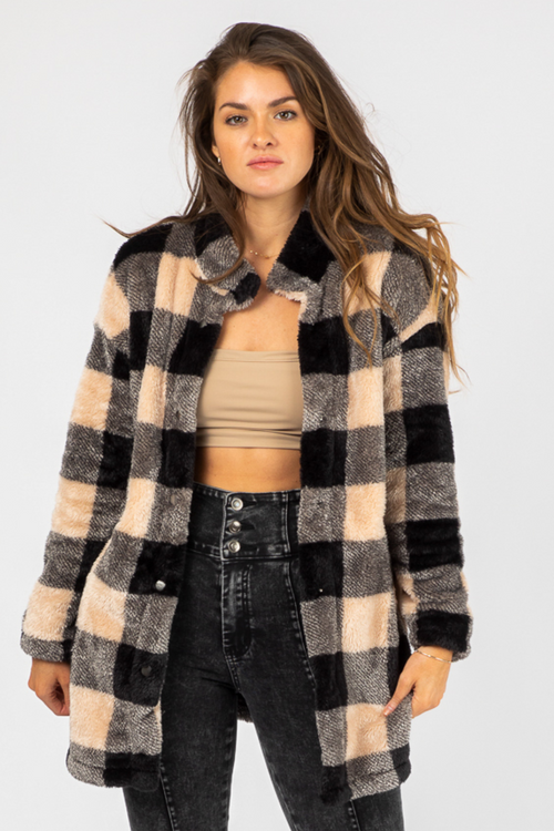 BLACK + BEIGE GRID SHERPA JACKET
