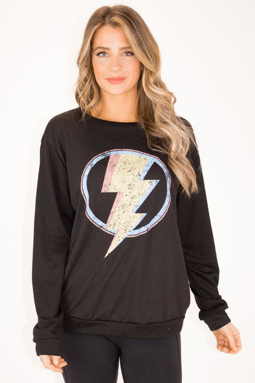 MULTICOLOR BOLT PULLOVER IN BLACK
