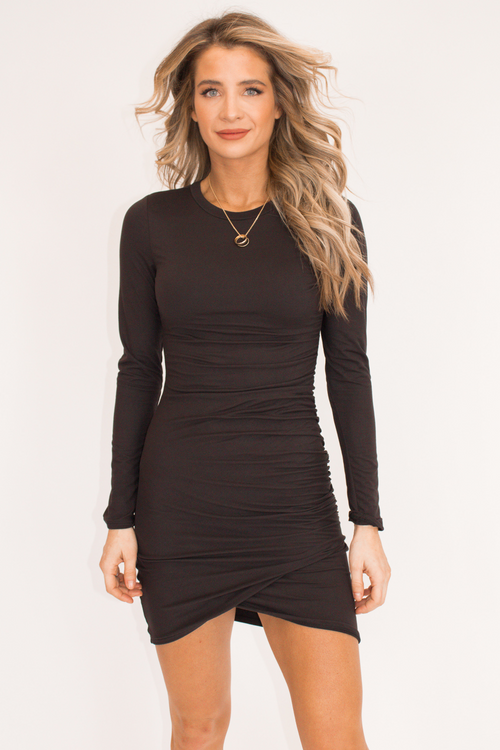 BLACK SHIRRING MINI DRESS
