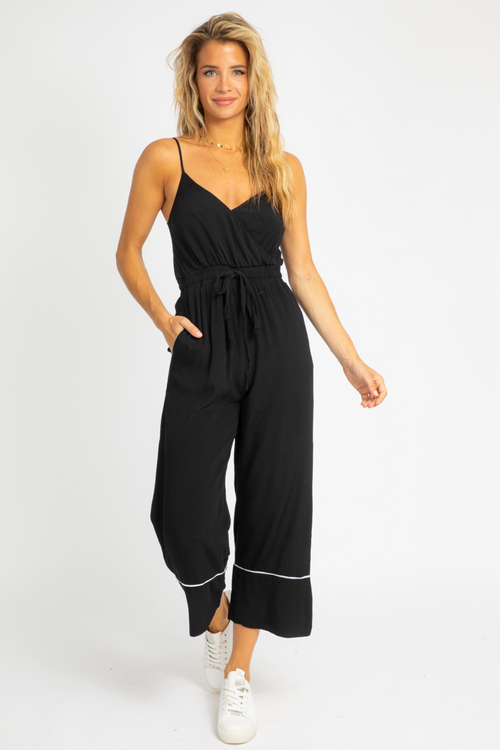 BLACK + WHITE TRIM JUMPSUIT