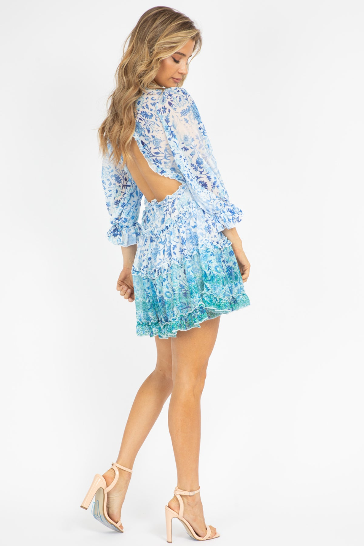 BLUE BOTANICAL RUFFLE DRESS