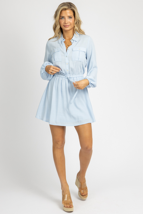 BLUE FRONT POCKET MINI DRESS