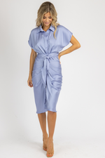 MISTY BLUE COLLARED TIE FRONT MIDI DRESS *RESTOCK COMING SOON*