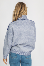 BLUE CONTRASTING TURTLENECK KNIT
