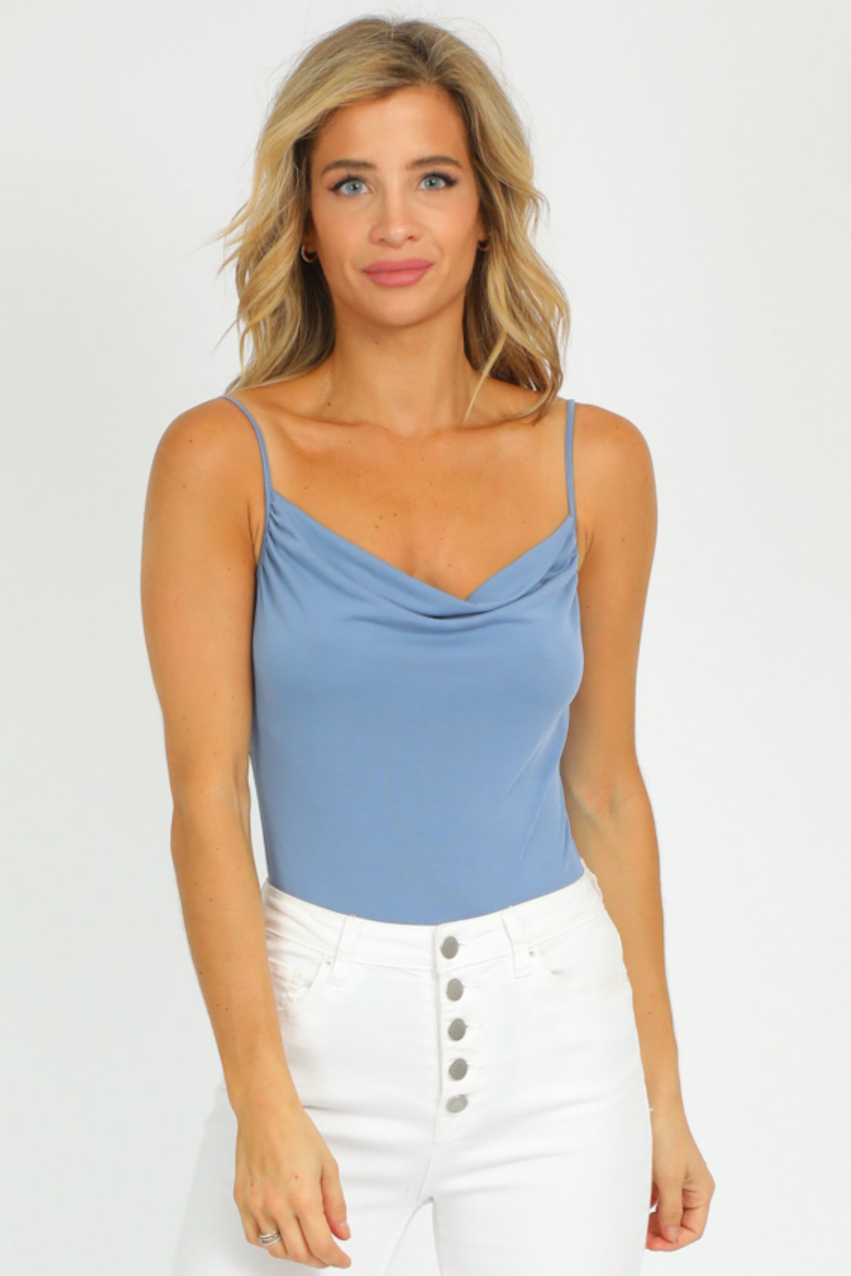 BLUE COWL NECK BODYSUIT