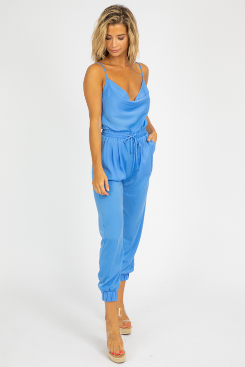 BLUE COWL NECK JUMPSUIT