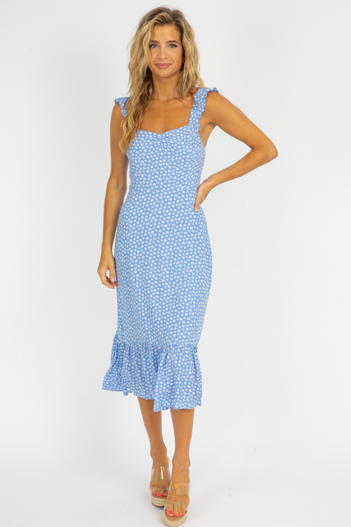 BLUE FLORAL RUCHED STRAP MIDI