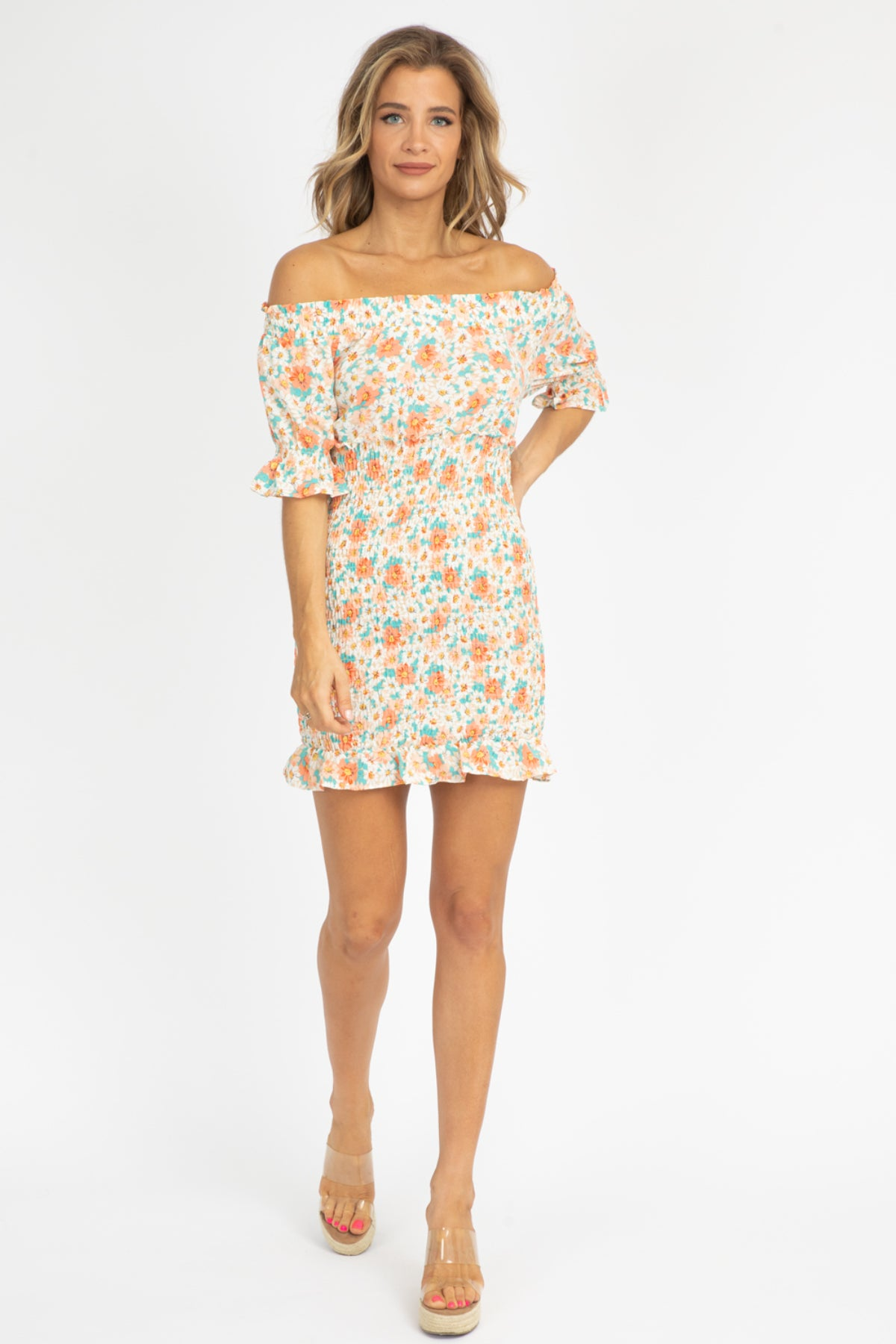 TAUPE FLORAL OFF SHOULDER DRESS