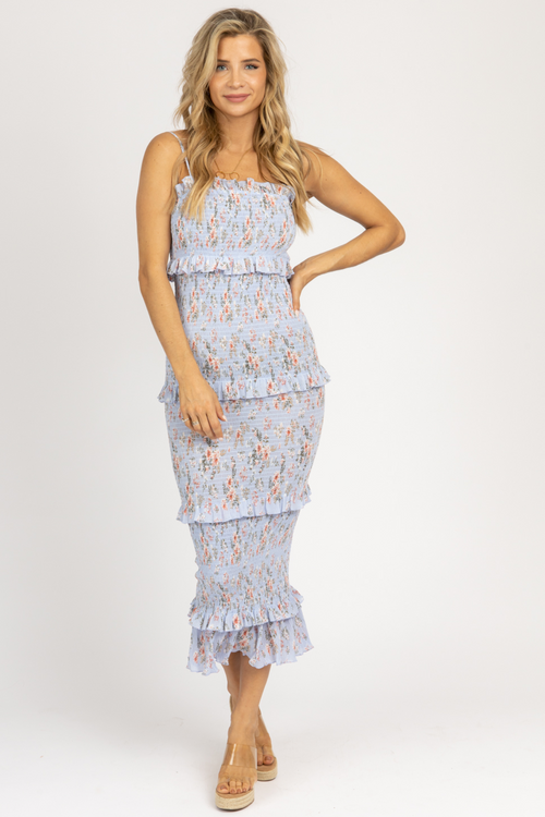 BLUE FLORAL STRAIGHT-NECK SMOCKED MIDI
