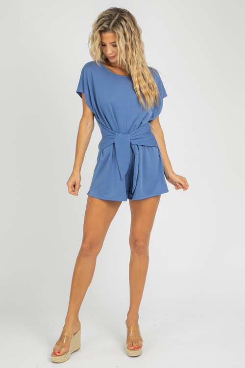 BLUE TIE FRENCH TERRY ROMPER
