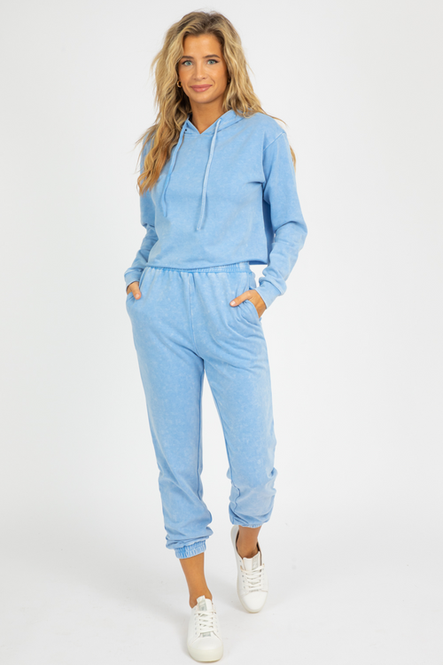BLUE HOODED LOUNGE SET