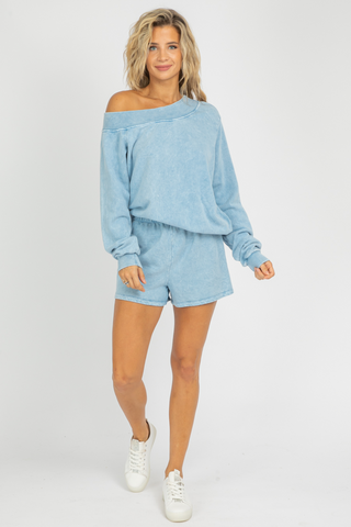 SKY BLUE WRAP TOP SET