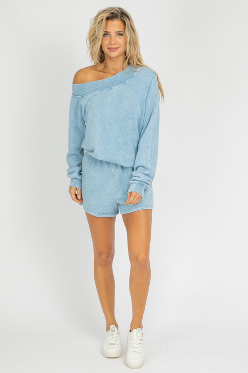 BLUE OFF SHOULDER LOUNGE SET