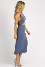 BLUE OPEN BUTTON FRONT MIDI DRESS *RESTOCK COMING SOON*