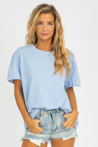 SKY BLUE BACK BUTTON TOP