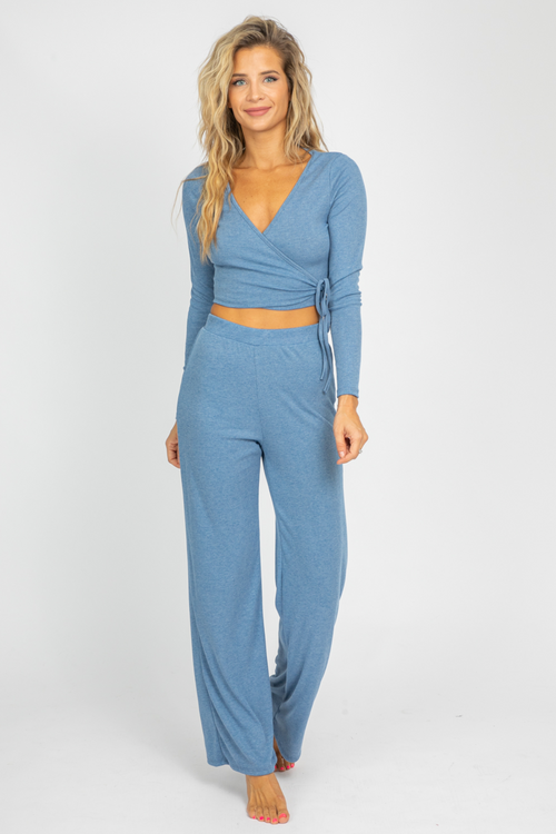 BLUE V-NECK LONG SLEEVE SET