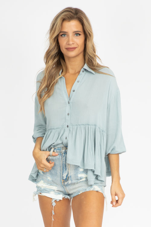 STORMY BLUE RUFFLED BUTTON UP