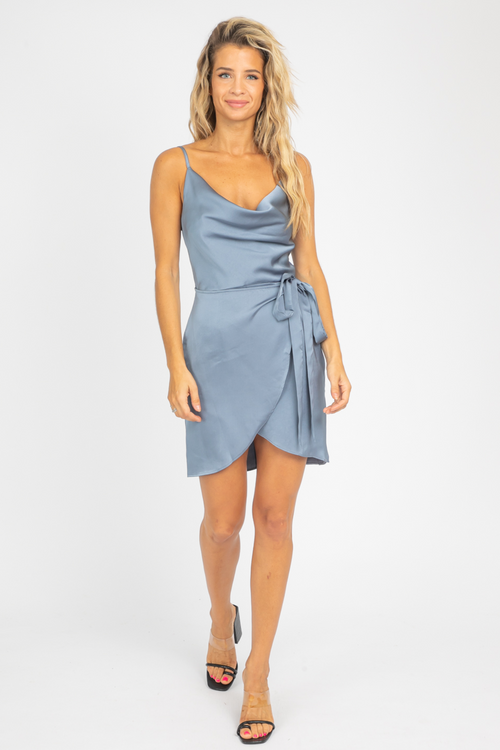 MIDNIGHT COWL NECK SATIN WRAP DRESS