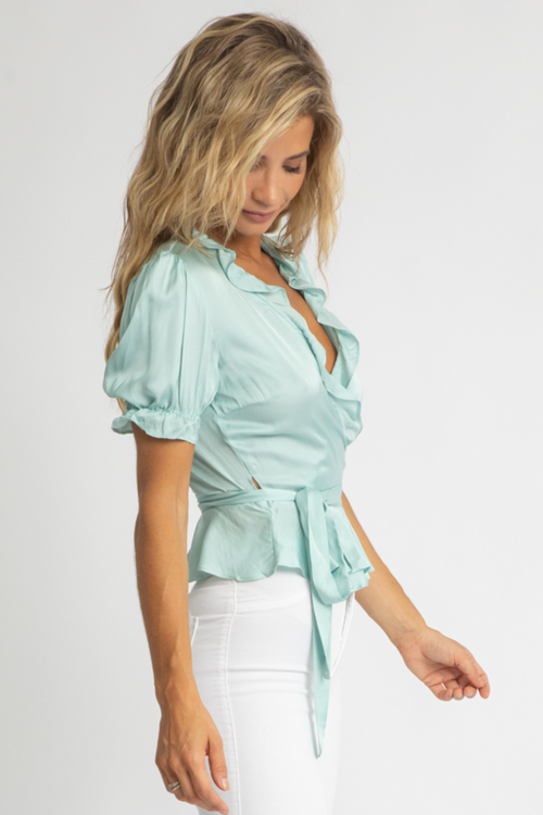 BLUE SATIN WRAP TOP