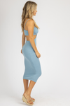 TURQUOISE SIDE CUTOUT MIDI DRESS