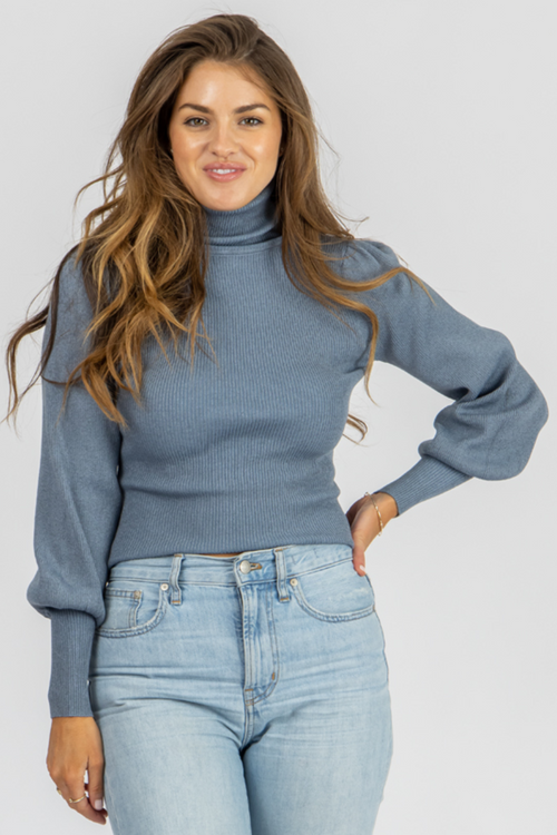 BLUE STONE PUFF SLEEVE TURTLENECK