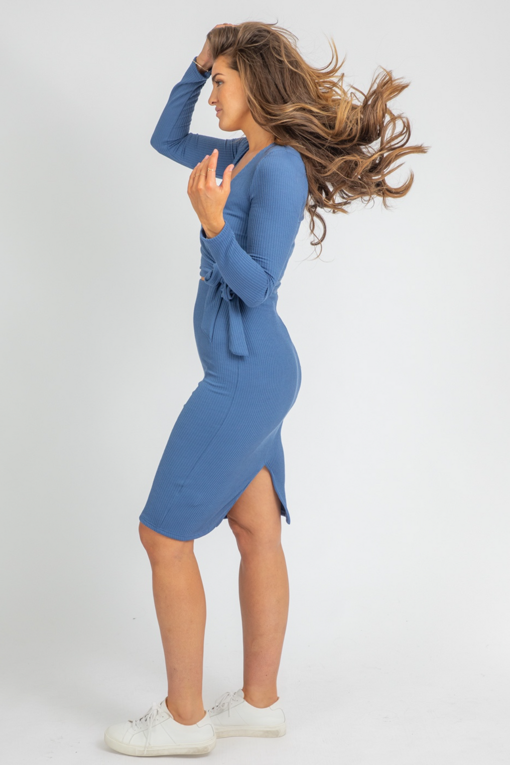 BLUE KNIT WRAP MIDI SET