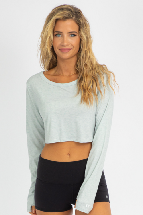 BLUE THUMBHOLE CROP