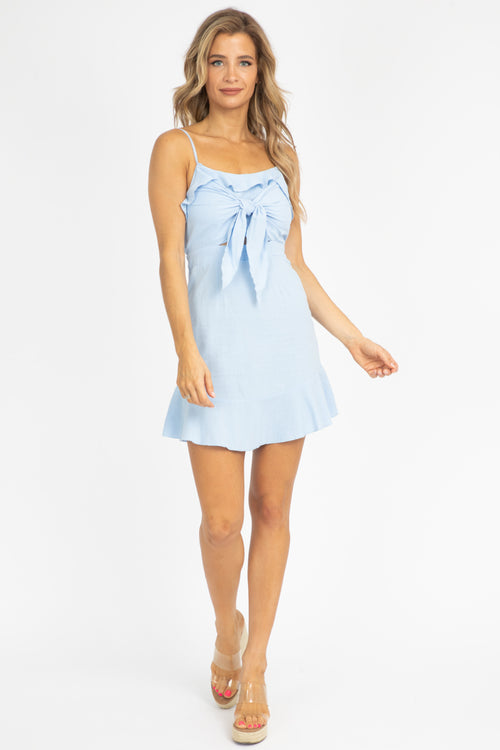 BABY BLUE RUFFLED MINI DRESS