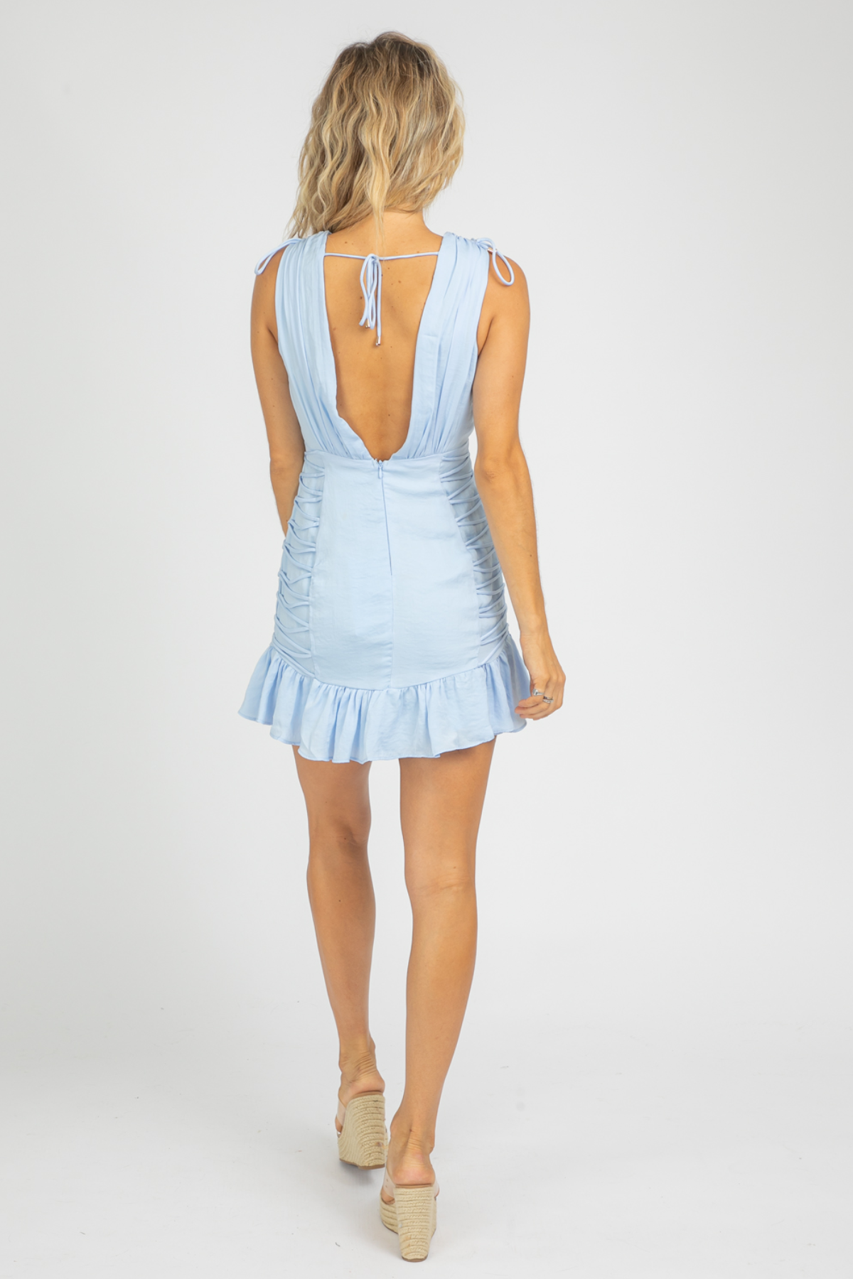 BLUE DEEP-V TIED MINI DRESS