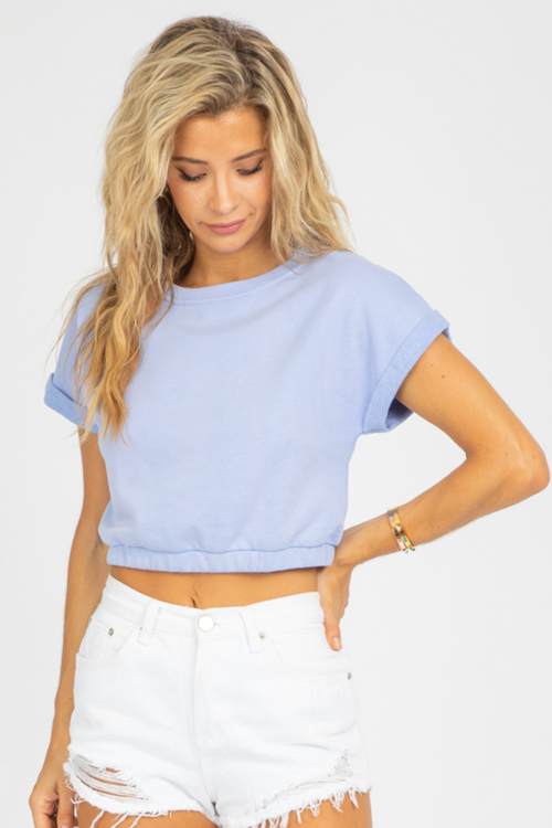 PERIWINKLE WAIST CINCH CROP