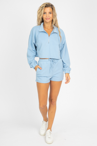 BABY BLUE HENLEY SET