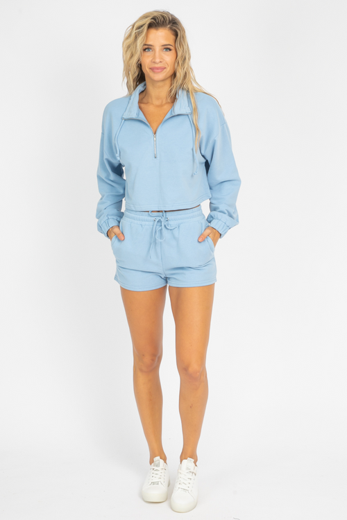 ICE BLUE ZIPPERED SHORTS SET