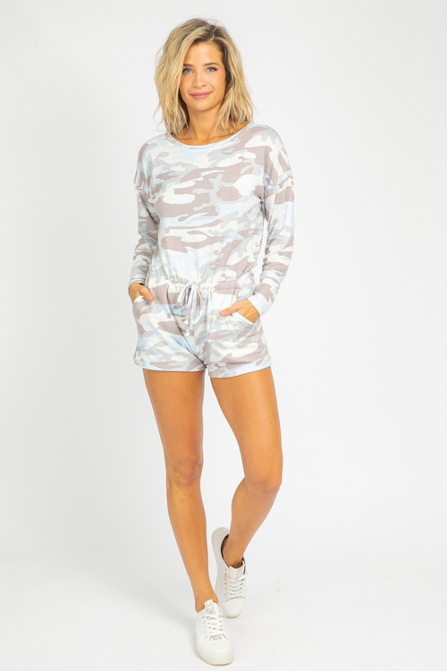 GREY + BLUE CAMO KNIT ROMPER