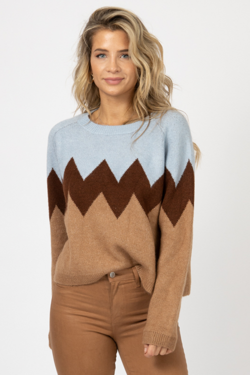 BLUE ZIGZAG COLORBLOCK KNIT