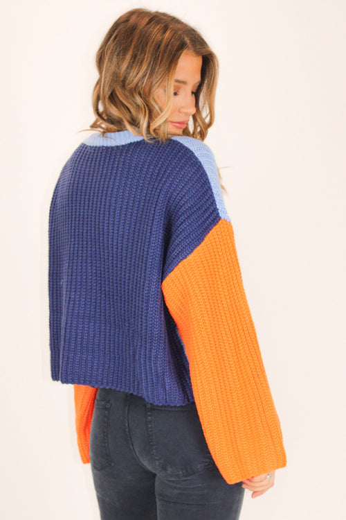 BLUE + ORANGE COLORBLOCK SWEATER