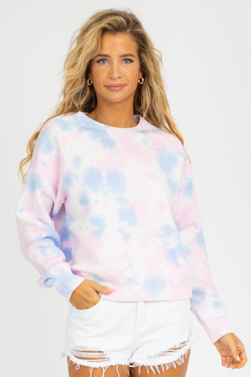 PINK + POWDER BLUE TIE DYE SWEATSHIRT