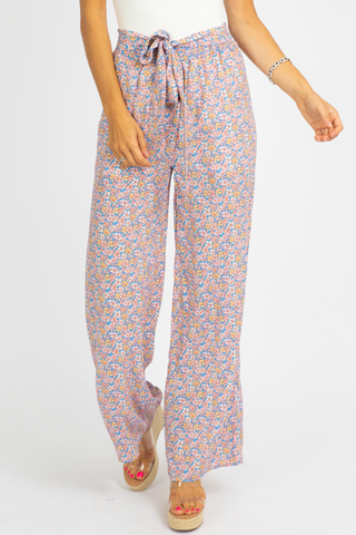 PINK TROPICAL WIDE LEG PANTS