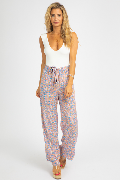 BLUE PEACH PAPERBAG PANTS