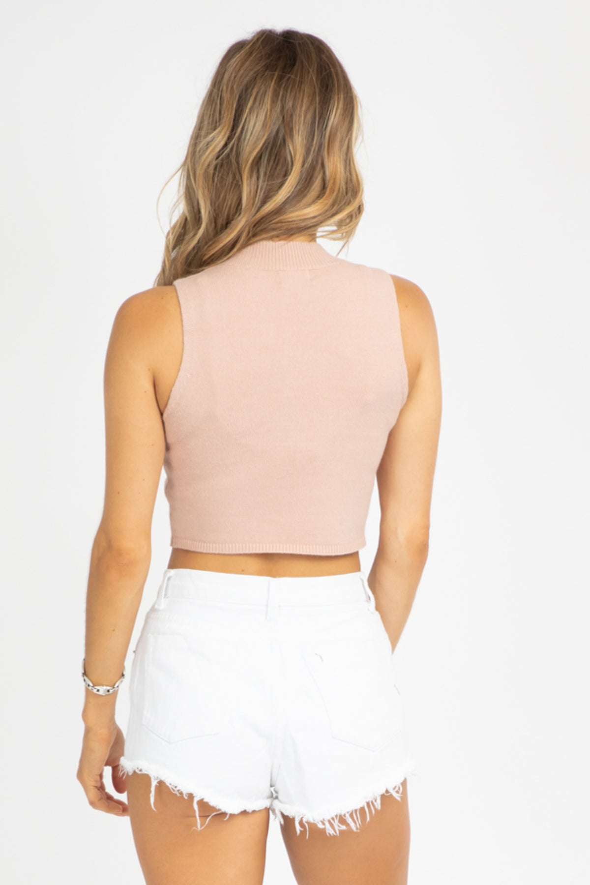 BLUSH KNIT CROP TANK