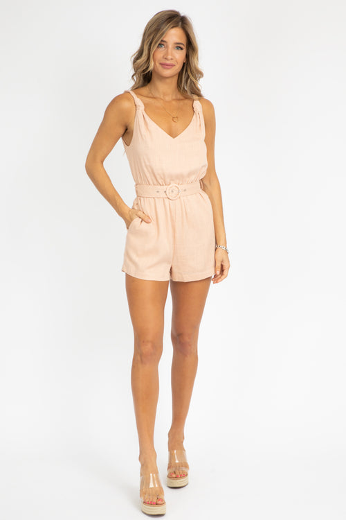 BLUSH KNOT BELTED ROMPER