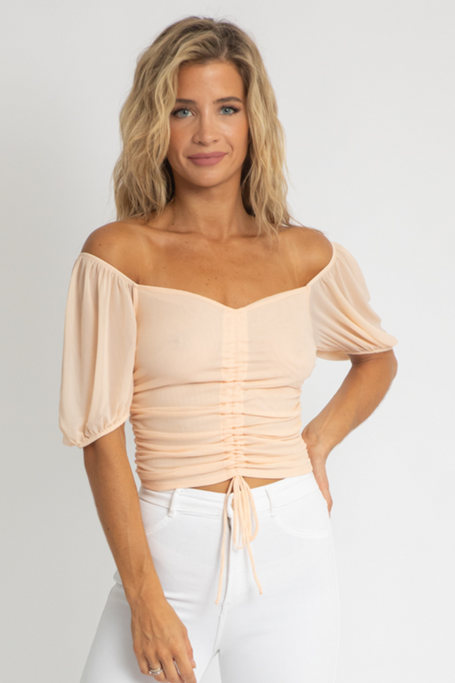 BLUSH MESH RUCHED CROP